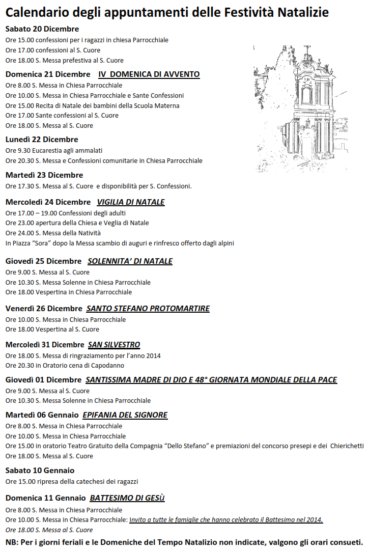 Calendario Anno 2014.Calendario Appuntamenti Festivita Natalizie
