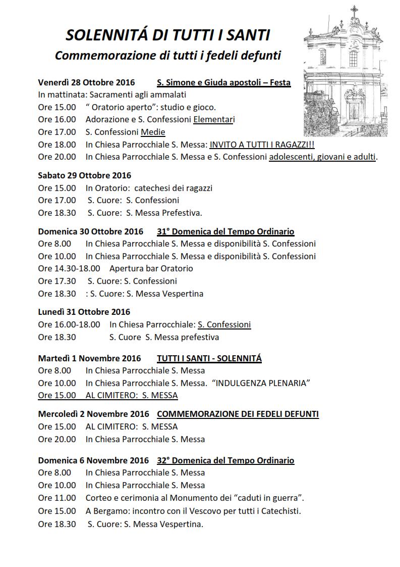 Santi Del Calendario.Calendario Appuntamenti Festa Di Tutti I Santi 2016